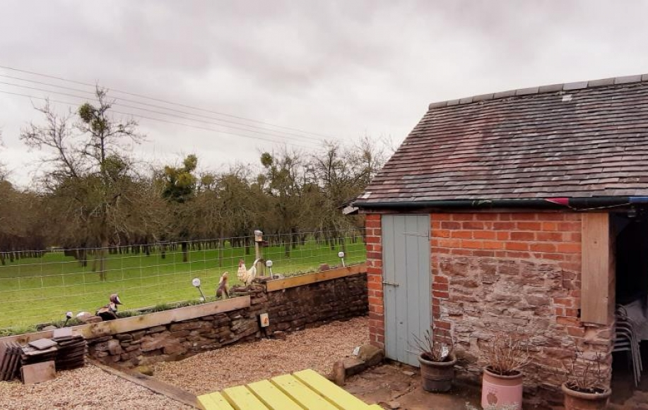 Detached Barn and view to neighbouring orchard
