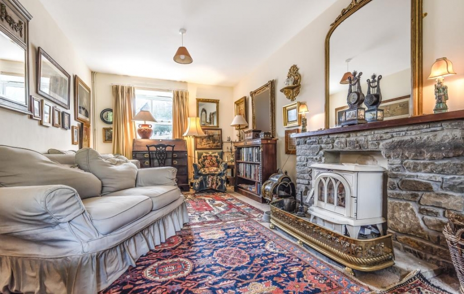 Through sitting room with wood burner