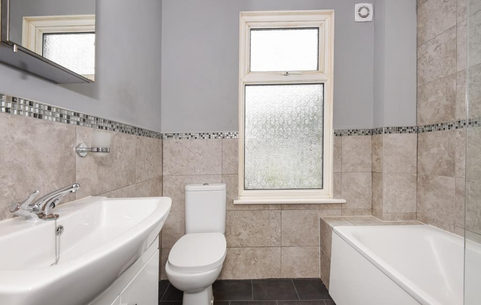 1946 yellow and grey tile bathroom - Bathroom