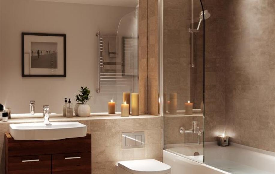 Bathroom of development show flat