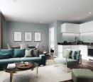 Lounge of development show flat