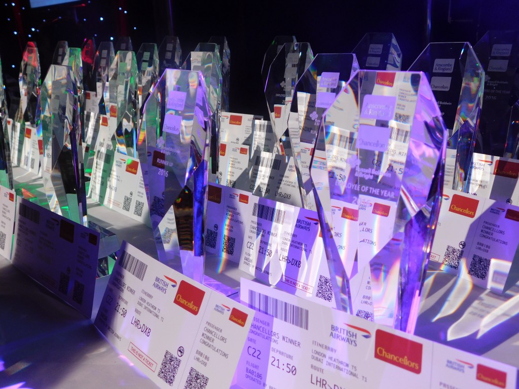 Awards and plane tickets on display