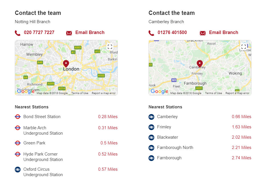 Example of our nearest stations widget as seen on our property listings.