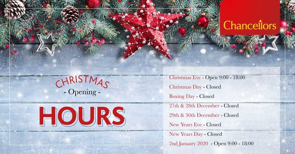 Chancellors Christmas 2019 opening times